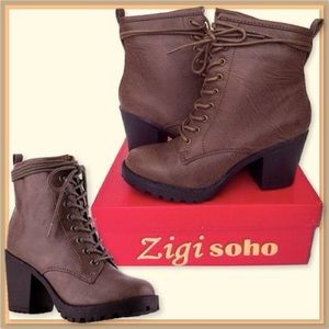 🆕Brown ZIGI SOHO Lace Up V-Leather Boots. 8.5 NIB